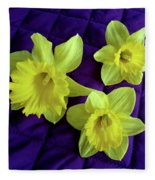 Daffodils On A Purple Quilt Fleece Blanket