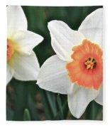 Daffodils Orange And White Fleece Blanket