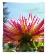 Dahlia Floral Garden Art Prints Canvas Summer Blue Sky Baslee Troutman Fleece Blanket
