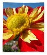 Dahlia Flower Art Prints Canvas Red Yellow Dahlias Baslee Troutman Fleece Blanket