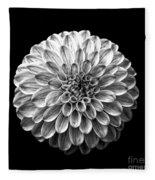 Dahlia  Flower Black And White Square Fleece Blanket