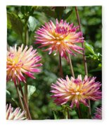Dahlia Garden Floral Pink Yellow Botanical Landscape Baslee Troutman Fleece Blanket
