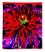 Dahlia Rouge Texture Avec La Frontiere  Fleece Blanket