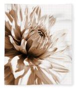 Dahlia Sepial Flower Fleece Blanket