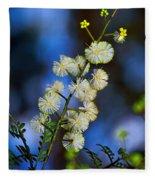 Dainty Wildflowers On Blue Bokeh By Kaye Menner Fleece Blanket