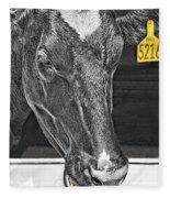 Dairy Cow Number 5216 Fleece Blanket