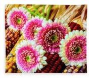 Daises On Indian Corn Fleece Blanket