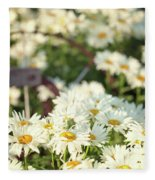 Daisies And A Hand Plow Fleece Blanket