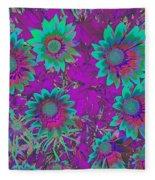 Pop Art Daisies Aqua Fleece Blanket