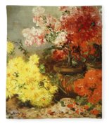 Daisies, Begonia, And Other Flowers In Pots Fleece Blanket