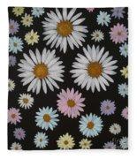 Daisies On Black Fleece Blanket