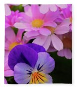 Daisy And Pansy Fleece Blanket