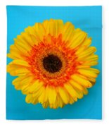 Daisy - Yellow - Orange On Light Blue Fleece Blanket