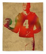 Dak Prescott Nfl Dallas Cowboys Quarterback Watercolor Portrait Fleece Blanket
