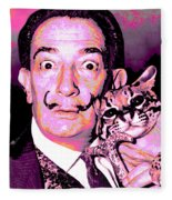 Dali With Ocelot And Cane Fleece Blanket