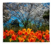 Dallas Arboretum Tulips And Cherries Fleece Blanket