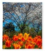 Dallas Arboretum Tulips And Cherries Fleece Blanket