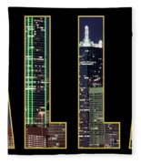 Dallas Letter Skyline 013018 Fleece Blanket