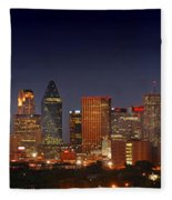Dallas Skyline At Dusk  Fleece Blanket