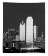 Dallas Skyline Bw 113017 Fleece Blanket