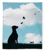 Dalmatian Dog Silhouette Fleece Blanket