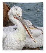 Dalmatian Pelican #3 Fleece Blanket
