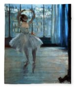 Dancer In Front Of A Window Fleece Blanket by Edgar Degas