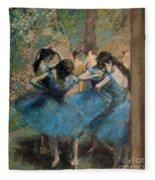 Dancers In Blue Fleece Blanket