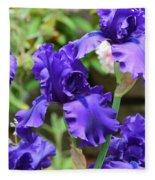Dancing Blue Irises Fleece Blanket
