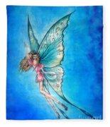 Dancing Fairy In Blue Sky Fleece Blanket