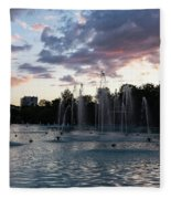 Dancing Jets And Music Sunset - Plovdiv Singing Fountains Fleece Blanket