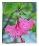 Dancing Lady Pink Hibiscus Fleece Blanket