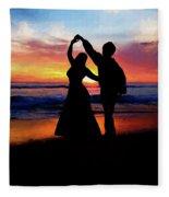 Dancing On The Beach - Painting Fleece Blanket