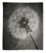 Dandelion In Black And White Fleece Blanket