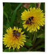 Dandelions And Bees Fleece Blanket