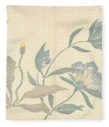 Dandelions And Blue Flowers, Nakamura Hochu, 1826 Fleece Blanket