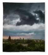Dangerous Stormy Clouds Over Warsaw Fleece Blanket