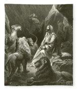 Daniel In The Lions' Den Fleece Blanket