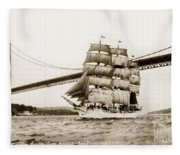 Danmark Sailing Under The Golden Gate Bridge San Francisco Fleece Blanket