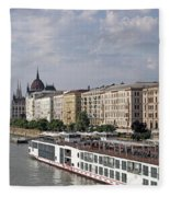 Danube Riverside With Old Buildings Budapest Hungary Fleece Blanket
