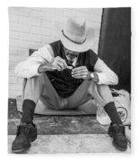 Dapper Man With Toothbrush Fleece Blanket