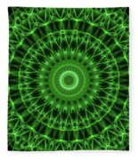 Dark And Light Green Mandala Fleece Blanket