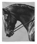 Dark Brown Dressage Horse Black And White Fleece Blanket