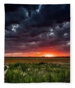 Dark Clouds At Sunset Fleece Blanket