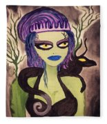 Dark Fairy With Dragon Friend Fleece Blanket
