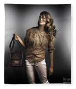 Dark Fashion Style With Fashionable Bag Accessory Fleece Blanket
