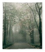Dark Gloomy Alley In Woods Fleece Blanket