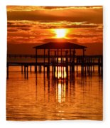 0209 Dark Orange Sunrise On Sound Fleece Blanket