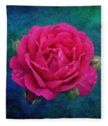 Dark Pink Rose Fleece Blanket