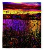 Dark Psychedelic Sunset Fleece Blanket